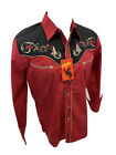 Men RODEO WESTERN RED BLACK STITCH Long Sleeve Woven SNAP UP Shirt Cowboy 528