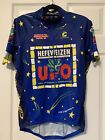 CANNONDALE Mens Cycling Jersey Large Blue UFO Hefeweizen Beer Short Sleeve