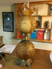 Fenton Colonial Amber Poppy Gone With The Wind Electric Lamp