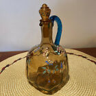 Antique Blown Amber Glass Cruet w Blue Rope Handle  Stopper Painted Signed
