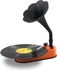 VMO Turntable Record Player with Horn Speaker for 33 45 RPM Orange BLUTOOTH New
