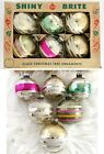 Vtg Shiny Brite Christmas Tree Ornaments Set 6 Mercury Glass Stripes 3 w Box