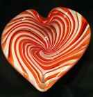 Murano Heart Shaped Red  White Striped Swirl Blown Glass Bowl Candy Dish