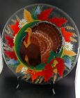 Peggy Karr Signed Fused Glass Thanksgiving Turkey 14 Round Serving Platter