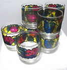 8 Libbey Stained Glass Fruit Low Ball Drinking Glasses Juice Tumblers 8 oz
