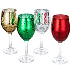 MyGift Etched Glass Colored Christmas Wine Glasses Set of 4