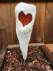 Red Heart Driftwood Stained Glass Yard Art Sculpture Hand Cut Handmade W Stake