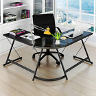 L Shaped Corner Computer Desk Home Office Glass Top Work Station Gaming Table
