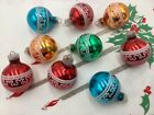 9 Vintage Shiny Brite Glass Christmas Ornaments Miniature Feather Mini Germany
