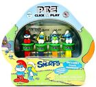 PEZ Click & Play The Smurfs 4 Dispensers Sour Blue Raspberry Candy & Gameboard