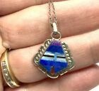 Native EP Sterling Silver Turquoise Lapis Charoite Inlay Pendant 20 Necklace