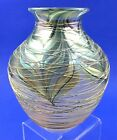 EARLY LUNDBERG STUDIO IRIDESCENT THREADED ART GLASS VASE SIGNED DATED 1980