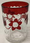 EAPG Crystal Co FLOWER  PLEAT Ruby Stained Glass Clematis WATER TUMBLER  4 4