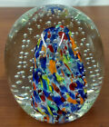 John GENTILE Eagle Trademark Multi Color Controlled Bubble Art Glass PAPERWEIGHT
