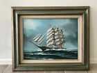 Vtg Seascape Sailing Sloop Boat Tall Ship Original Oil Painting Hewitt Jackson