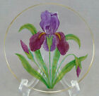 Theresienthal Bohemian Hand Painted Purple Iris Flower Small Glass Plate C 1900