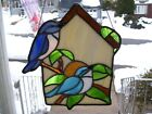 Stained Glass Blue Birds on a Bird House Sun catcher Real Glass