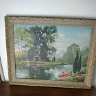 Paint By Number 1969 Tranquil Reflections Vintage Large 18X24 Framed 22x28