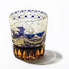 Edo Kiriko Old Glass Wave Fuji with Chrysanthemum Kagome pattern From Japan