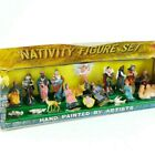 Vintage Nativity Figures in Original Box Hand Painted Plastic 2 Inch Complete