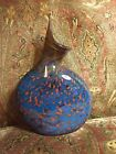 Beautiful Signed Chad Balster Glass Vase Louisville Kentucky Glassblower Blue