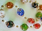 Vintage MURANO Art Glass Multi Color Foiled Bead Necklace Goldtone Very Nice