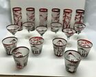Vintage Antique Ruby Red Bohemian Cut to Clear Glass Set of 18 Never Used NR