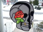 Stained Glass Top Rose Skull Sun catcher Real Glass