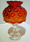 Vintage LE Smith Glass Moon and Star Amberina Fairy Light with clear base