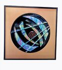 Abstract Fused Glass Wall Art Black And Gold Framed 10 Square