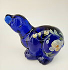 Fenton Glass Cobalt Blue Polor Bear Hand Painted Golden Flaw 1995 Pattern