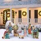 New 9 Piece Polyresin Outdoor Nativity Set Hand Sculpted Hand Painted