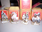 David Winter Cottages Set / 4 Christmas Ornaments Suffolk House MIB