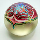 Stuart ABELMAN Signed Paperweight Tiffany Style Flower Hand Blown Glass 1984