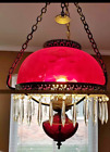VTG Ruby Red Glass Victorian Library Oil Hanging Lamp Light