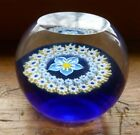 Vintage Caithness Art Glass Forget Me Not Paperweight Scotland M40606 Blue