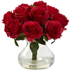 Red Artificial Silk Roses In Vase Faux Bouquet Water Glass Love Gift Idea