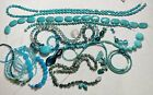 Large Lot Of Blue Crystal Glass Stone Turquoise Art Beads Seed Beads