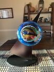 Rollin Karg 2007 Hand Blown Art Glass Dichroic Satellite Sculpture w Stand