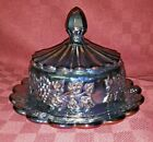 Fenton Amethyst Carnival Round Covered Butter Dish Vintage With Sticker