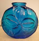 MCM VINTAGE BLENKO BLUE GLASS CLOVER VASE CATALOG 6322 WAYNE HUSTED