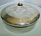 Vintage Heisey Glass Large Candy dish with Silver overlay Lid