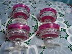 4 Vintage Indiana Glass Ruby Red Thumbprint Dessert Sherbet Cups Pre owned