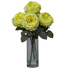 Yellow Artificial Silk Roses in Bloom Glass Vase Floral Bouquet Arrangement
