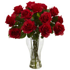 Dozen Red Artificial Silk Roses Tall Glass Vase Faux Water Floral Bouquet 18