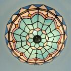 16Tiffany Flush Ceiling Light Bowl Shade Retro Stained Glass Porch Lamp Pendant
