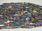 25 Strands 15 Assorted India Handmade Chevron Glass Beads Bulk Lot TYI 87