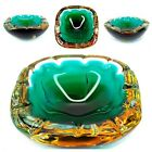 Murano Triple Sommerso Geode Art Glass Bowl Ashtray Amber Clear Aqua to Green