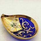 Rare Vintage Vimax Murano Glass Italy Cobalt Gold Hand Painted Wine Dish