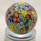 Murano Art Glass Millefiori Colorful Paperweight w gold flecks Italy